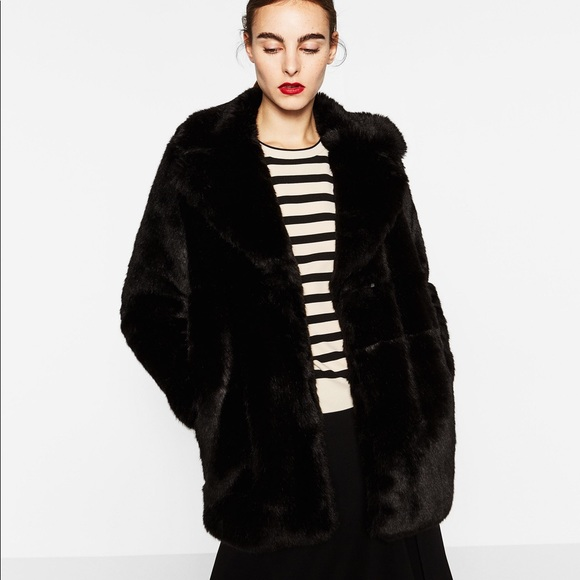 0c71e1db05 Zara woman black Fur coat NWT